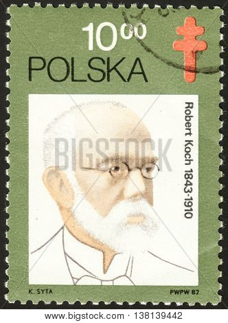 MOSCOW RUSSIA - DECEMBER 2015: a post stamp printed in POLAND shows a portrait of Robert Koch the series