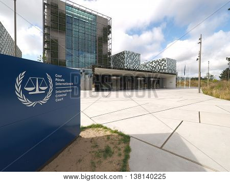 The Hague Netherlands - July 5 2016: The International Criminal Court forecourt entrance and sign at the new 2016 opened ICC building.