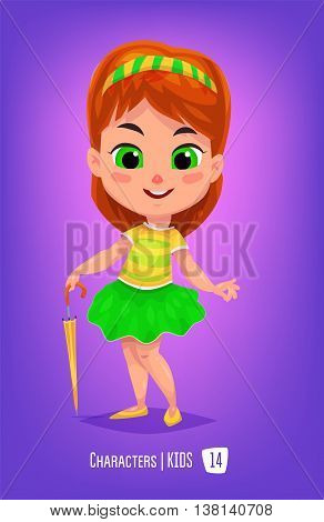 Cute School Girl. Back to School isolated cartoon character on violet background. Great illustration for a school books and more. VECTOR stock illustration.