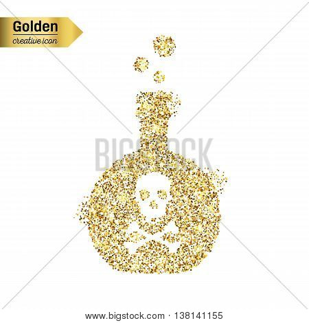 Gold glitter vector icon of toxin isolated on background. Art creative concept illustration for web, glow light confetti, bright sequins, sparkle tinsel, abstract bling, shimmer dust, foil.