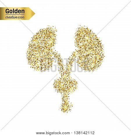 Gold glitter vector icon of renal system isolated on background. Art creative concept illustration for web, glow light confetti, bright sequins, sparkle tinsel, abstract bling, shimmer dust, foil.