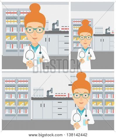 Young female pharmacist with stetoscope wearing medical gown and holding in hands a glass of water and pills in the laboratory. Vector flat design Illustration. Square, horizontal, vertical layouts.