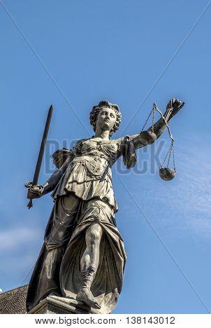 Statue Of Lady Justice (justitia) In Frankfurt