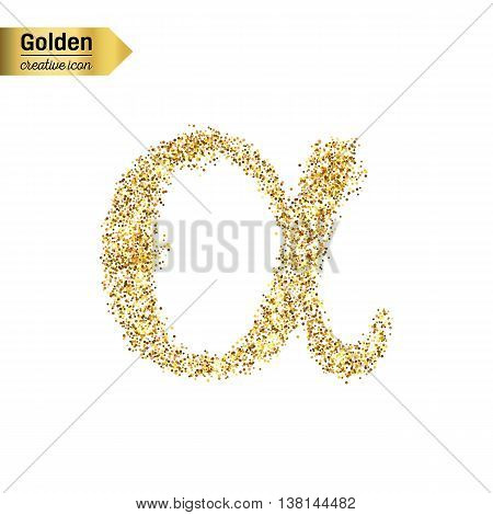 Gold glitter vector icon of alpha isolated on background. Art creative concept illustration for web, glow light confetti, bright sequins, sparkle tinsel, abstract bling, shimmer dust, foil.