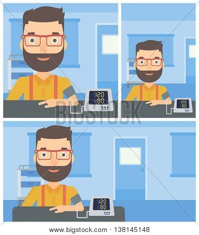 Young hipster man with the beard taking care of his health and checking his blood pressure with digital meter. Vector flat design Illustration. Square, horizontal, vertical layouts.