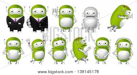 Set of green robots posing in business suits. Cute robots waving hand, pointing finger up, giving thumbs up, wearing headphones, running, jumping. Vector illustration isolated on white background.