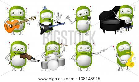 Set of green robots conducting with baton, singing into a microphone, playing guitar, saxophone, piano, violin, drum. Robots with musical instruments. Vector illustration isolated on white background.