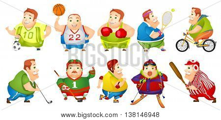 Set of illustrations of cheerful fat man wearing sports uniform. Funny plump man playing hockey, baseball, basketball, football, golf, tennis. Vector illustration isolated on white background.