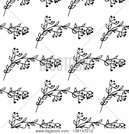 Monochrome hand drawn seamless pattern with leafy elements