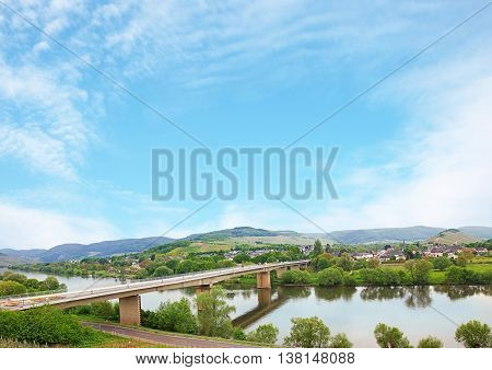 Moselle River At Springtime, Blue Sky Background