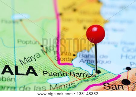 Puerto Barrios pinned on a map of Guatemala