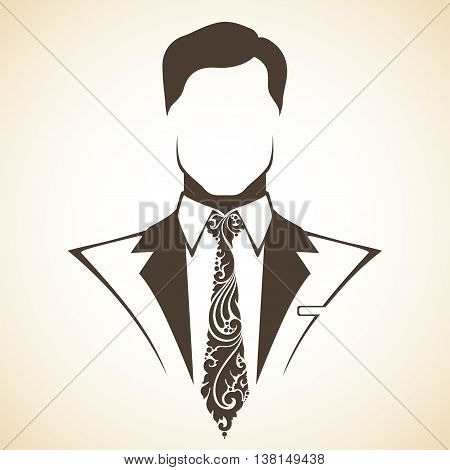 Man in suit and tie with a decorative ornamental elements