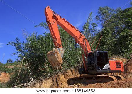 KOTA KINABALU, MALAYSIA - CIRCA JULY 2016: Deforestation environmental problem. Destruction of rain forest in Borneo for oil palm plantations.