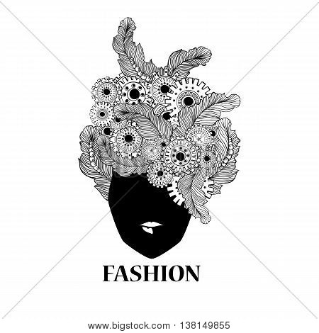 Concept art with stylized ladies hair with feathers and technology elements gear-wheels. Ethiopian black skin woman face silhouette. Can be used for barbershop logo design.