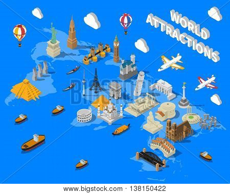 World famous touristic attractions isometric map poster with leaning pisa tower and empire state building vector illustration