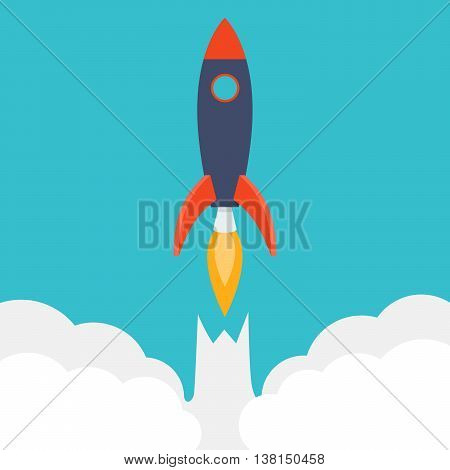 Rocket ship in a flat style.Vector illustration with 3d flying rocket.Space travel to the moon.Space rocket launch.Project start up and development process.Innovation product, creative idea.Management.