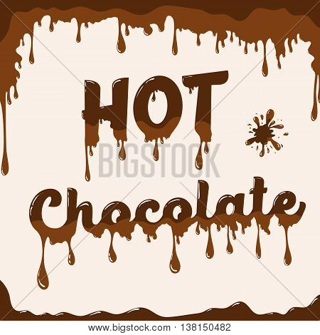 Hot chocolate vector template with melting effect. Template with melted chocolate text and with melted blot. Card concept for various use. Light brown background.