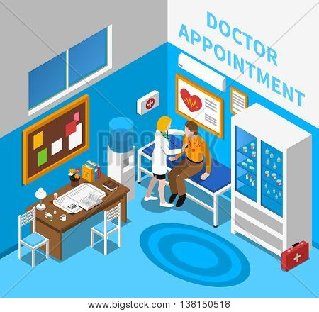 Doctor appointment with cardiologist examining male patient in consulting room with heart symbol poster isometric vector illustration