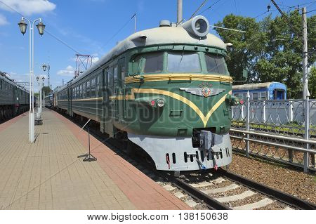 MOSCOW, RUSSIA - JUNE 23, 2016: Museum of Railway Transport of the Moscow railway electric passenger train other motorized series ER9P (