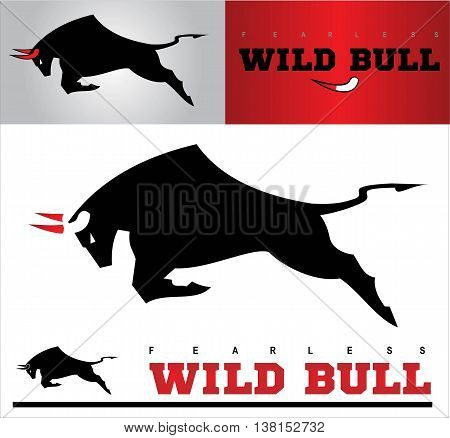 Bull. Charging Black Bull with the Bloody Horns. each image placed on separate layers. unique design on the horn of the main bull in the center horn built by negative space between head and blood.