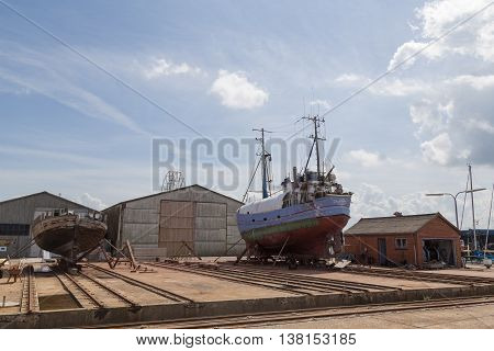Hundested, Denmark - July 11, 2016: Boats in the dry dock.