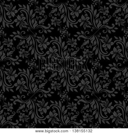 Dark seamless pattern for wall. Wallpaper fabric textile design with mandalas and decorative vintage, trendy color elements.Vector illustration