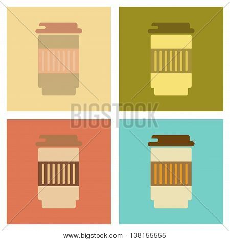 assembly of flat icons coffee to go caffeine