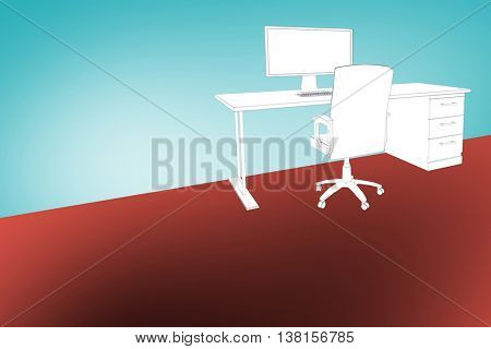 Draw of a desk against blue vignette background