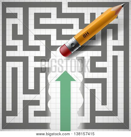 Pencil erases maze and New opportunities. Stock vector illustration.