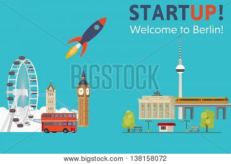 Sturtup, welcome to Berlin. Moving startups from England to Germany - Vector Concept