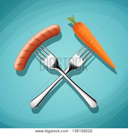 Fork with sausage and carrots. Harmful and wholesome food. Stock vector illustration.