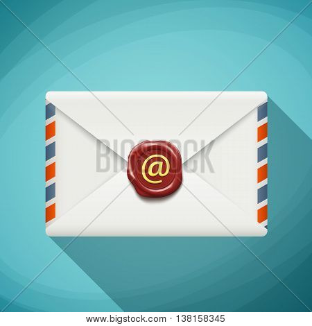 Icon envelope with wax seal. Sign email. Flat design. Stock vector illustration.