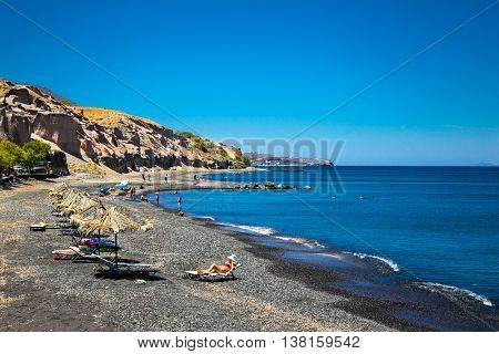 Black beach of Karterados on Santorini, Greece.