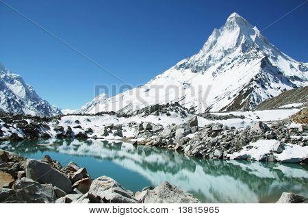 Shivling peak and beautiful lake in Himalayan