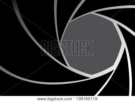 Black Camera lens Iris Diaphragm background vector illustration