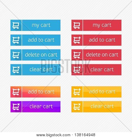 Add to Cart vector icons. Flat shopping cart shop button set. Ecommerce interface elements. Modern ui buy now for online store. Design element of Web site, applications, e-shop.