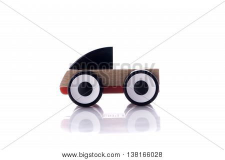 Wooden toy with colorful blocs isolated over white