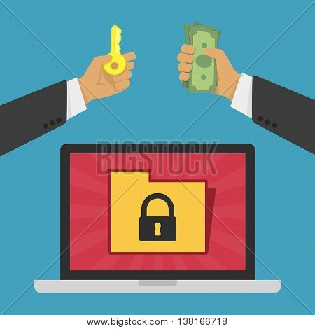 Vector illustration of technology data privacy and security concept. Internet Security Concept with A Laptop, Personal Information. Businessman pays hackers for the key to the information in laptop.