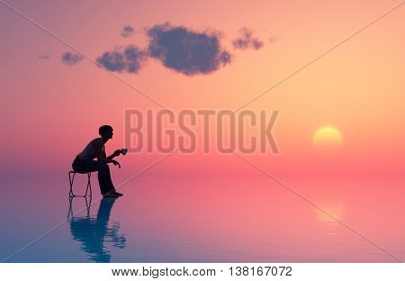 Man with cup in hand at sunset.3d render