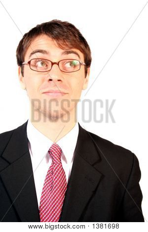 Business Man Wearing Glasses Looking Up