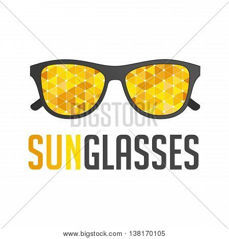 Vector Illustration of abstract sunglasses in flat style. Black Hipsters sunglasses on white background. Universal template logo for the company selling sunglasses. Creative Icon of glasses and text.