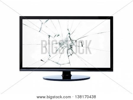 TV screen isolated on white background and broken glass