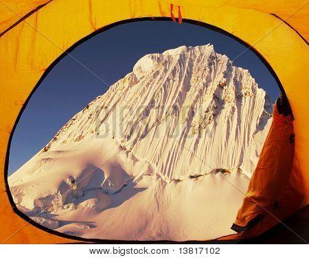 Base camp Alpamayo and Alpamayo peak