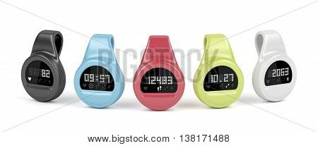 Fitness trackers with different interfaces and colors, 3D illustration