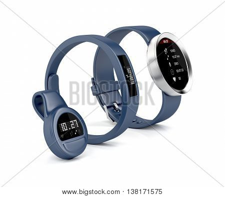 Smartwatch wristband and clip-on activity trackers on white background, 3D illustration