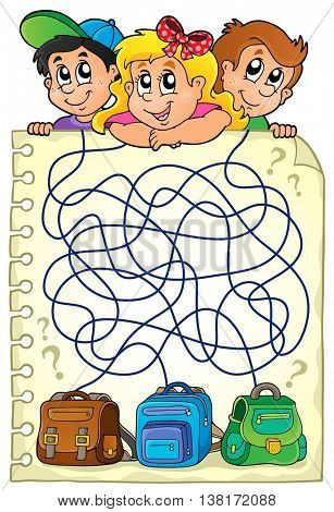 Maze 23 with children and schoolbags - eps10 vector illustration.