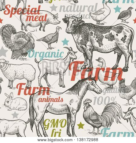 Seamless pattern with livestock, poultry, inscriptions. Farm birds and animals in the style of vintage engraving. Vector illustration. Design for packaging farm products.