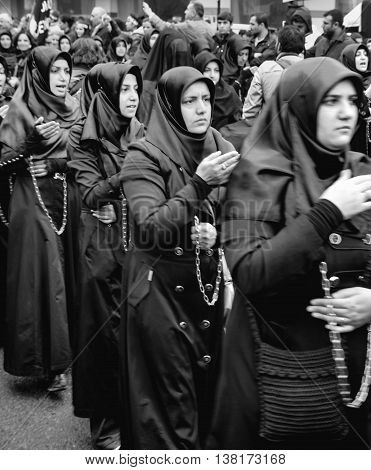 Istanbul Turkey - November 13 2013: The global mourning ceremony of Ashura. Karbala Martyrs Commemoration in Arenamega. Thousands of Jaferies joined the Karbala mourning ritual where Prophet Muhammad's grandson Imam Hussain and 72 others were killed