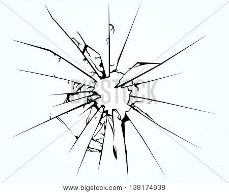 Broken window pane or glass background decorative realistic daylight design vector illustration