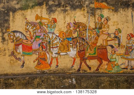 Traditional Ancient Stile Indian Wall Painting On The Old Plastered Wall In Udaipur, Rajasthan, Indi